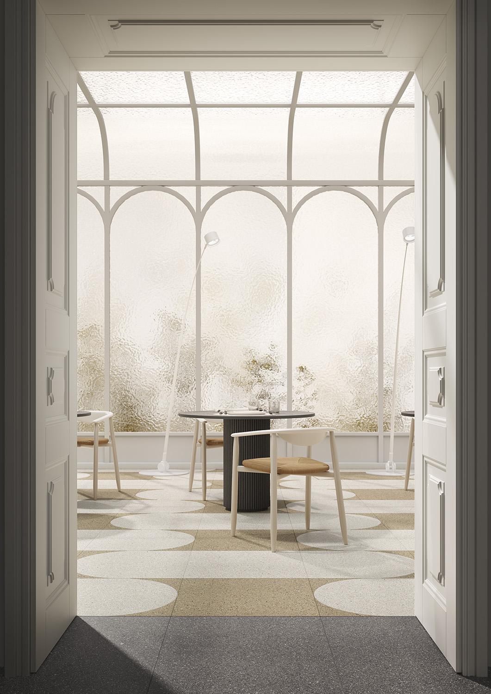 Terzo Piano art direction for Graniti Fiandre / bright restaurant