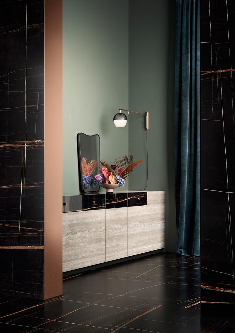 Terzo Piano art direction for Graniti Fiandre // dark atmosphere #living