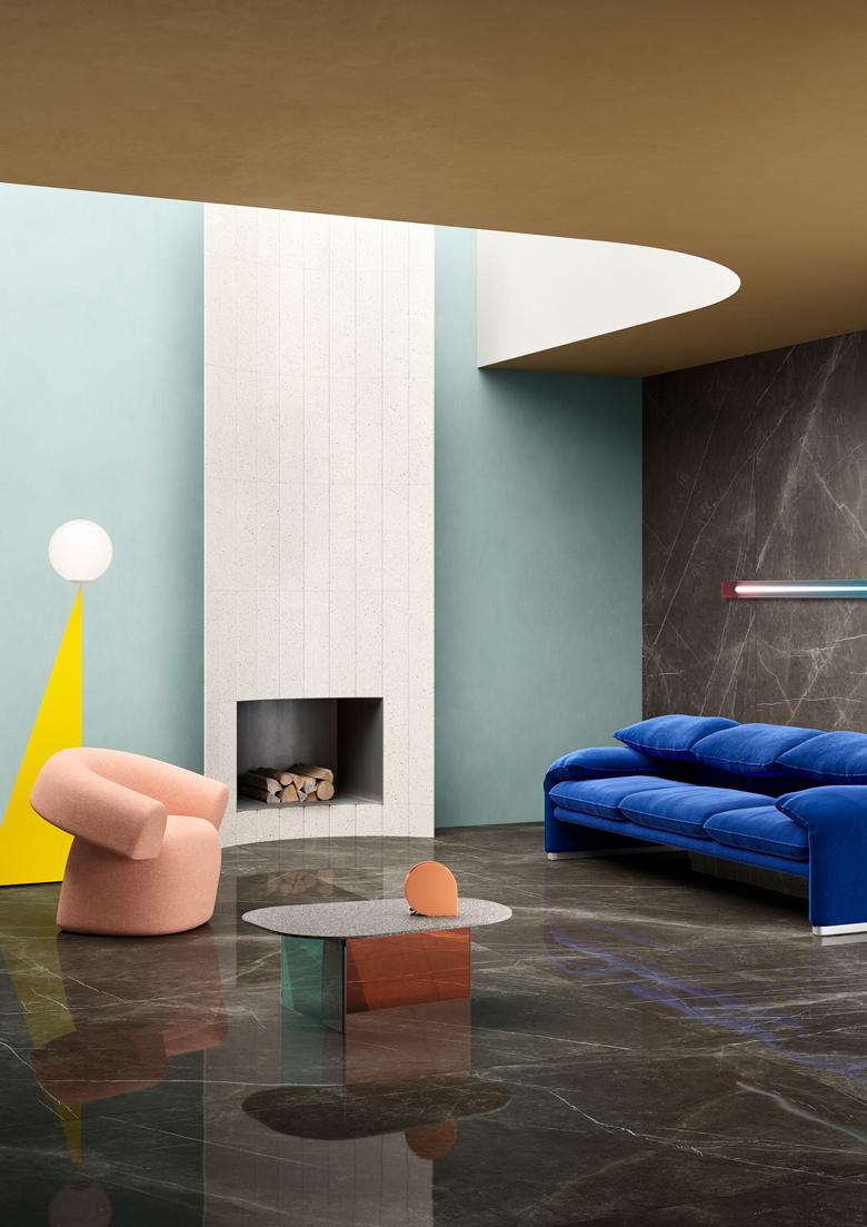 Terzo Piano art direction for Graniti Fiandre // Colored living room
